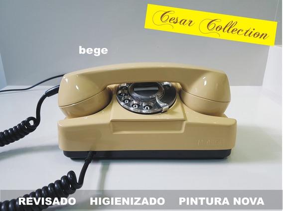 Telefone Tijolinho, Disco, Bege, Pintura Nova.