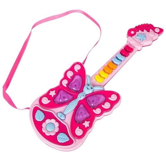 Guitarra Infantil Borboleta Rosa Com Som E Luz Musical