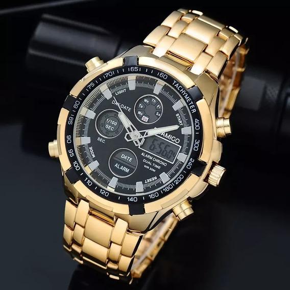 Relógio Digital Boamigo Amuda Banhado Ouro Dourado Com Caixa