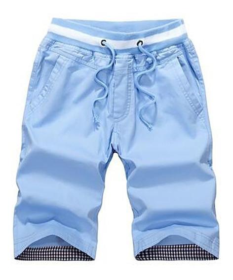 Pantalones Playa Slim Algodón De Ocio Pantalones De 5 Puntos