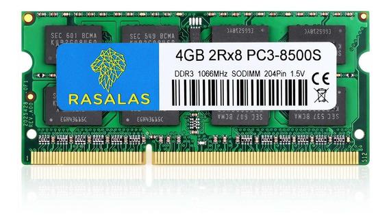 Memoria Ram 4gb Rasalas Ddr3 2rx8 Pc3 Ddr3 1066 Mhz Pc3-8500s Ddr3 8500 Sodimm Ddr3 Non-ecc Unbuffered