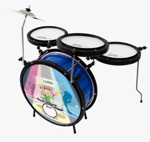 Bateria Infantil Completa Luen Smart Drum Azul - Oferta