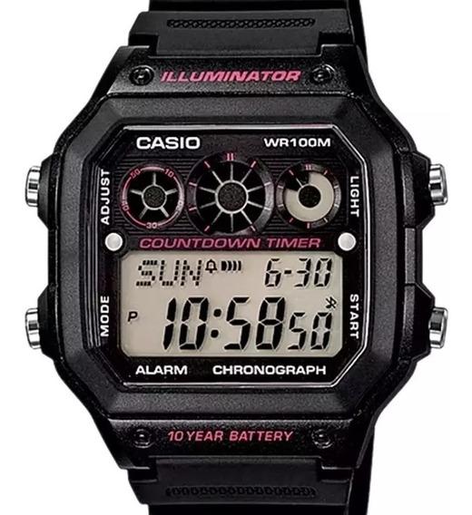 Relógio Casio Masculino Quadrado Countdown Timer