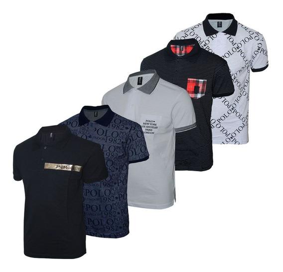 Kit Camisetas Polo Estampadas Cores Sortidas