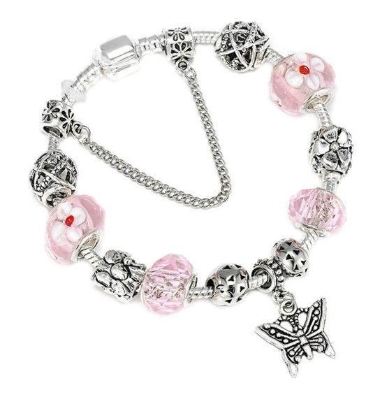 Pulseira Rosa Tipo Pandora Bracelete Berloque Banhada Prata