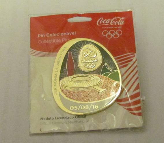 Pin Coca Cola Rio 2016 Olímpiadas Abertura 05/08