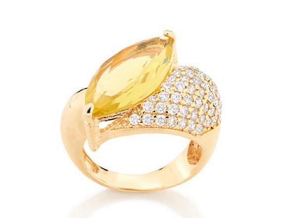 Anel Folheado A Ouro Rommanel Com Cristal E Zirconios 511795
