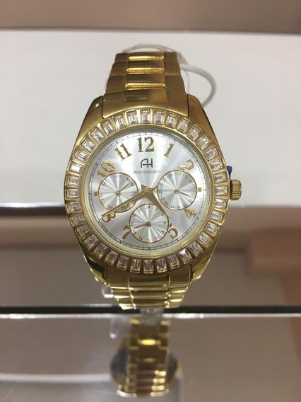 Relógio De Pulso Ana Hickmann Ah30086 Dourado Pedra Feminino