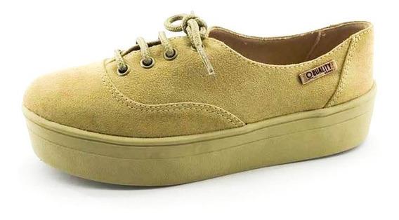 Tênis Flatform Quality Shoes Feminino 005 Camurça E Sola Car