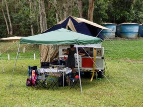 Trailer Carretinha Baú De Camping Com Cozinha-sem A Barraca