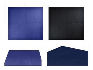 Tapete Deportivo Azul Y Negro Reversible 4 Piezas