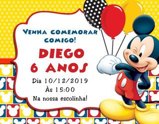 10 Convites De Aniversário Personalizados - Mickey
