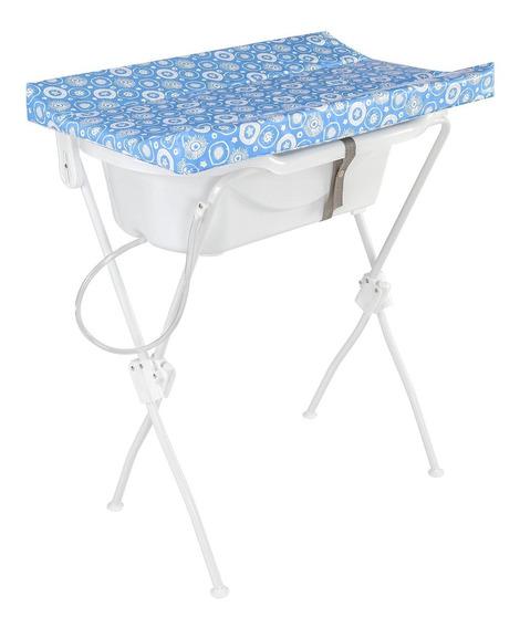 Banheira Bebê Trocador Infantil Floripa Azul - Tutti Baby