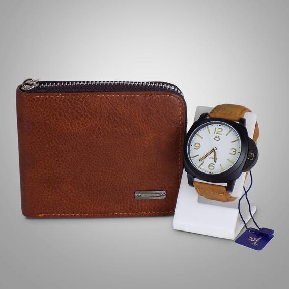 Relógio Masculino Original Couro + Caixa + Carteira + Nf-e