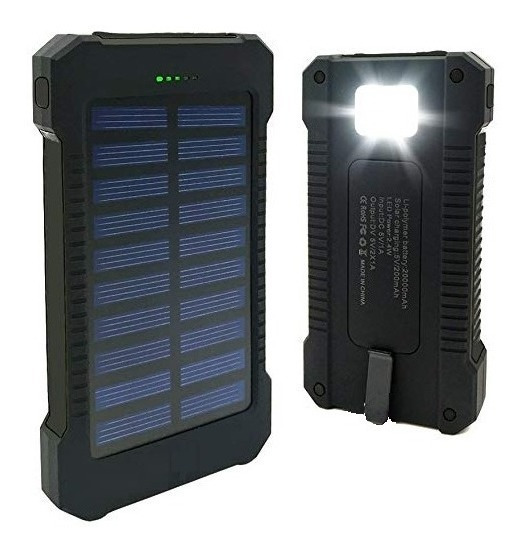 Power Bank Solar 20.000 Mah Cargador Portatil Linterna Gs