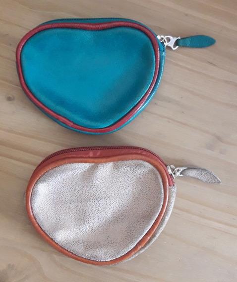 Monederos Turquesa Y Dorado Estilo Corazón