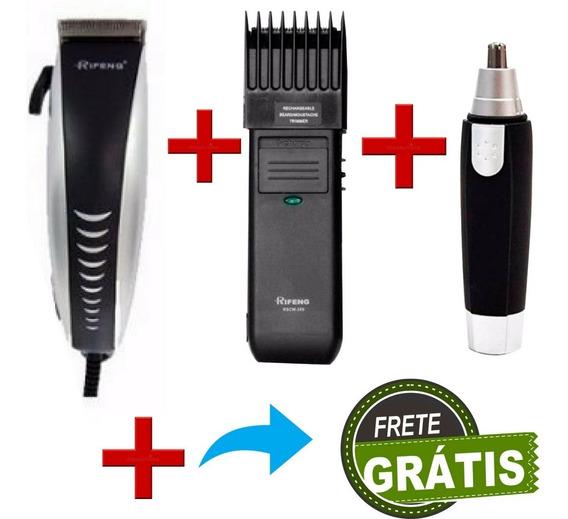 Maquina De Cortar Cabelo + Barbeador + Aparador De Pelos