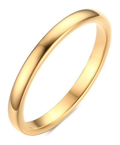 Aliança 2mm Aço Inox Banhado Ouro 18k Casamento Noivado