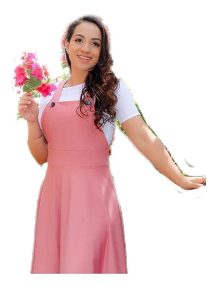 Salopeti Jardineira Moda Evangélica Gospel Roupa Feminina