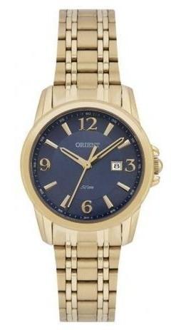 Relógio Feminino Dourado Fundo Azul Orient Original Usado