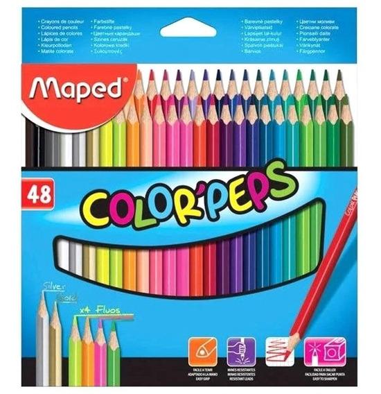Lápis De Cor Maped 48 Cores Metalico/ Dourado/ Peles/ Fluor