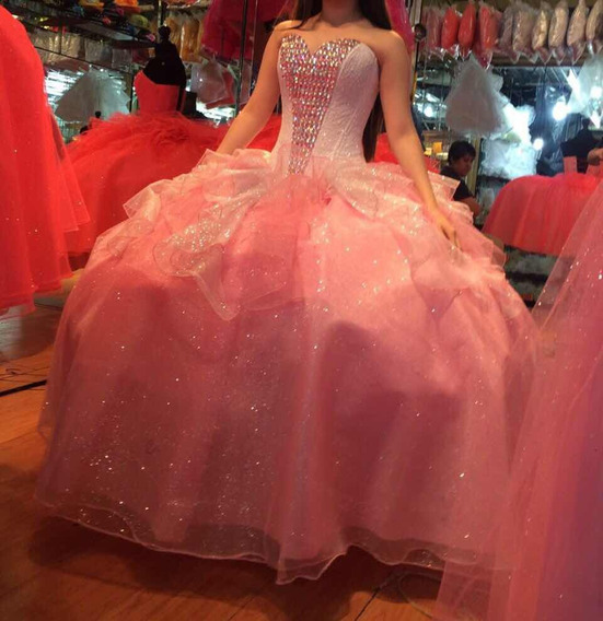Vestido De 15 Rosa Con Blanco