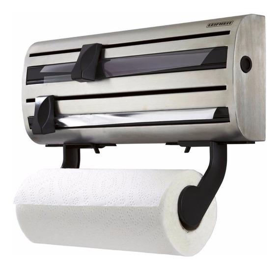 Dispenser Porta Rollo Cocina Papel Film Aluminio Leifheit - Portarrollo Acero Pared - Hay Stock