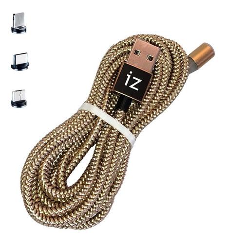 2 Metros Cable Carga Magnético 3 En 1 Micro Usb iPhone Usb-c