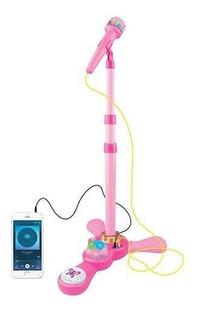 Juguete Microfono Infantil De Pie Rosa Mp3 Luces Love 7355