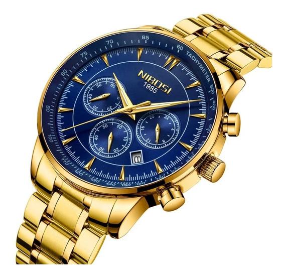 Relógio Masculino Nibosi Dourado Com Azul 100% Funcional