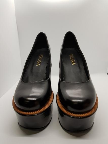 Perugia Sandalia Zapato Mujer Charol Negra Moda 2019