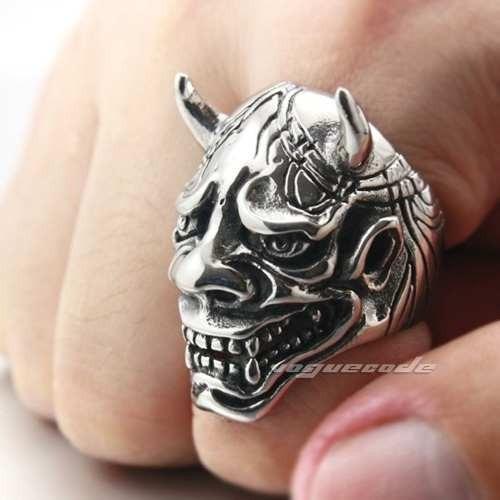 Anel Diabo Aço Inox Caveira Demônio Gótico Satan Punk Prata