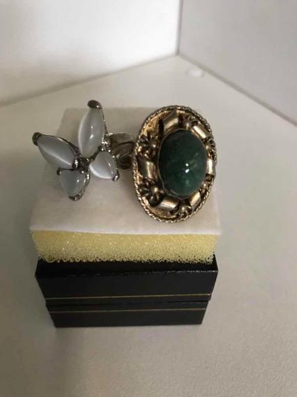 Anéis Antigos- Aço/pedra Lua E Pedra Verde Ajustável- Preço2