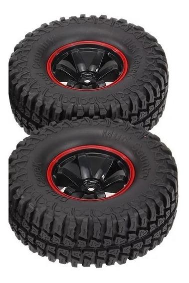 Jogo 2 Pneus E Rodas 1/10 Rc Rock Crawler D90 Scx10 Cc01..