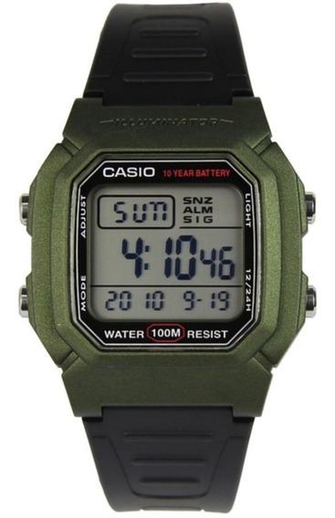 Relógio Casio Masculino Vintage W-800hm 3av Verde Digital