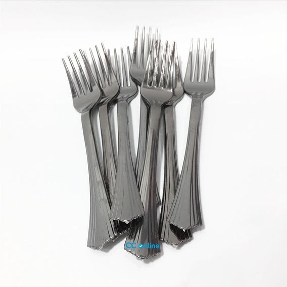 Tenedor Descartable Plomo Plástico X 24 Cubiertos- Cc-online