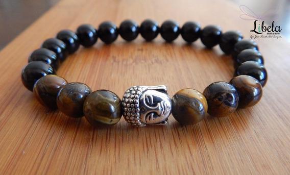 Pulsera Buda Ojo De Tigre Y Ágata Negra