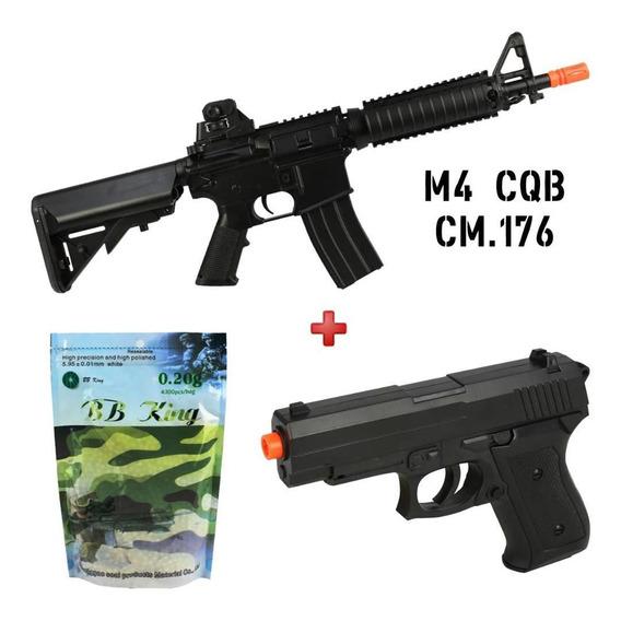 Airsoft Air Soft Rifle Aeg M4 Cqb Cm176 + Pistola Spring 6mm