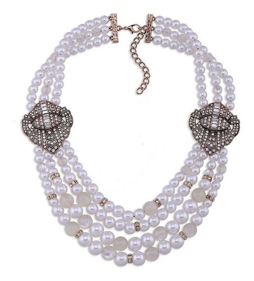 Exquisito Collar Largo Perlas Con Adornos Dorados Lados