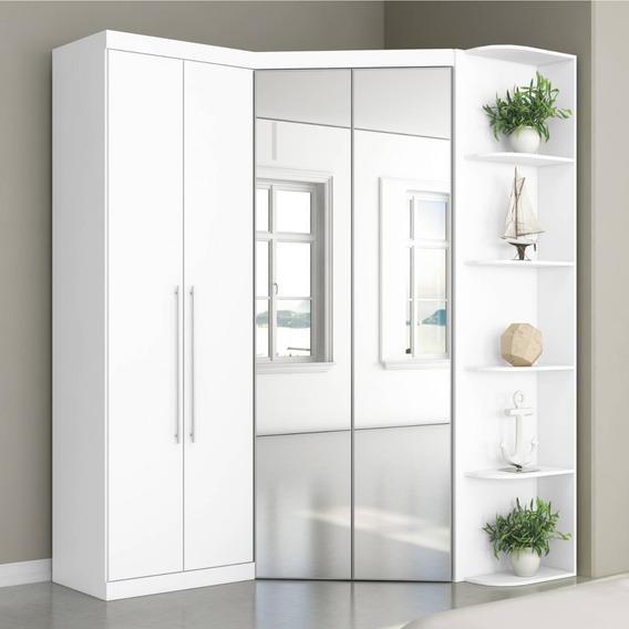 Guarda Roupa Casal Com Espelho 4 Portas Prateleiras J