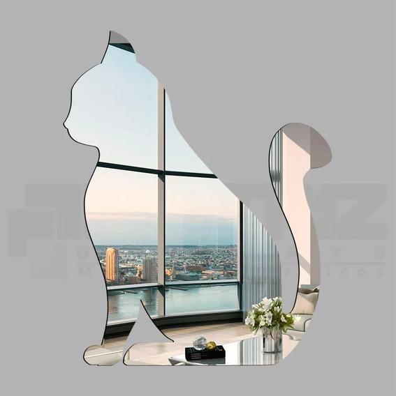 Espelho Decorativo Acrílico Gato Sentado Tam. Médio