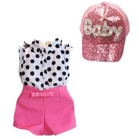 Conjunto De Menina Verão Poá Curto Infantil Kit Bone Rosa