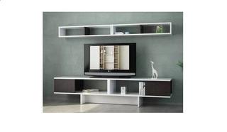 Mueble Modular Moderno Minimalista Rack Panel Tv Melamina 18
