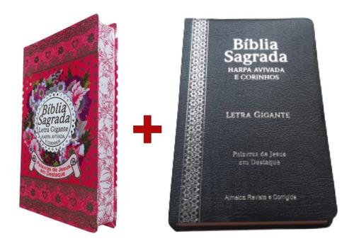 2 Bíblia Sagrada Do Casal C/ Harpa  Letra Gigante Luxo