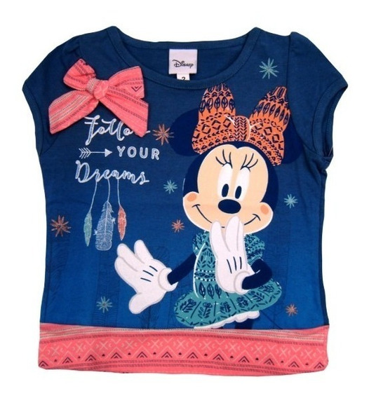 Hermosa Playera Infantil Minnie Mouse Azul Original Con Exce