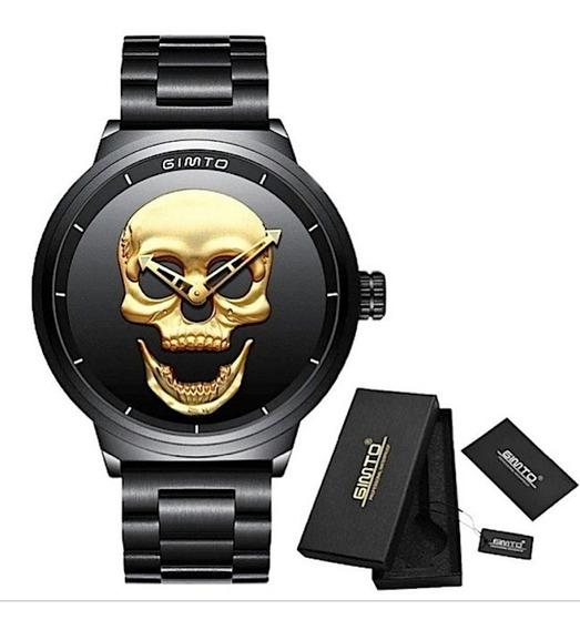 Relógio Masculino Gimto 3d Original Caveira Ouro Black Gold