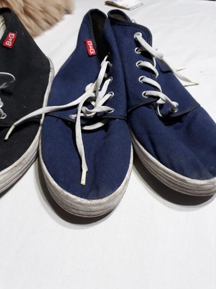 Zapatillas De Lona Tipo Botitas Negra Y Azul