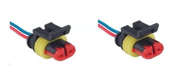 2 Conector Chicote Lanterna Led Lateral Carreta 2 Vias