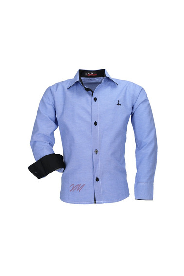 Camisa Infantil Alfa Tecido Misto Xadrez - Azul Médio - 160