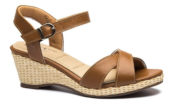 Sandália Feminina Anabela 613 Em Couro Caramelo Doctor Shoes